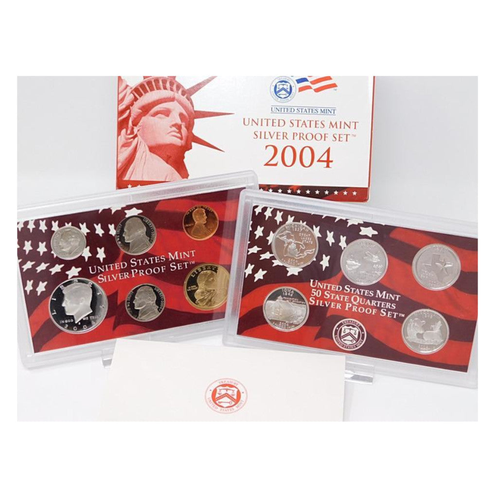 2004-S U.S. Silver Proof Set: Complete 10-Coin Set, with Box and COA