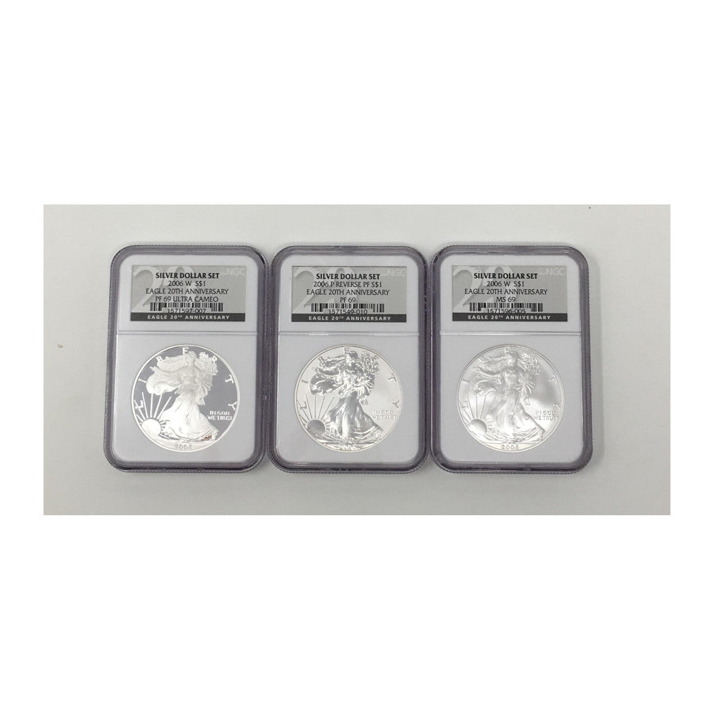 2006 American Silver Eagle 20th Anniversary Set NGC MS69 BU PF and Reverse PF