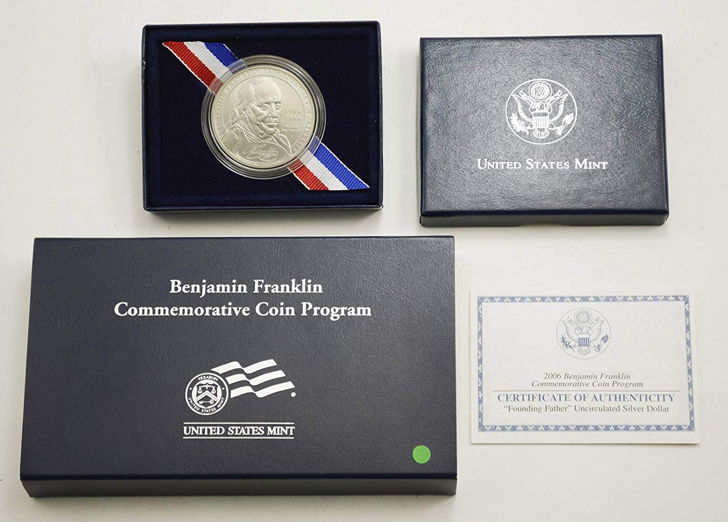 2006 Benjamin Franklin Founding Father Commemorative BU Silver Dollar w/ Box & COA