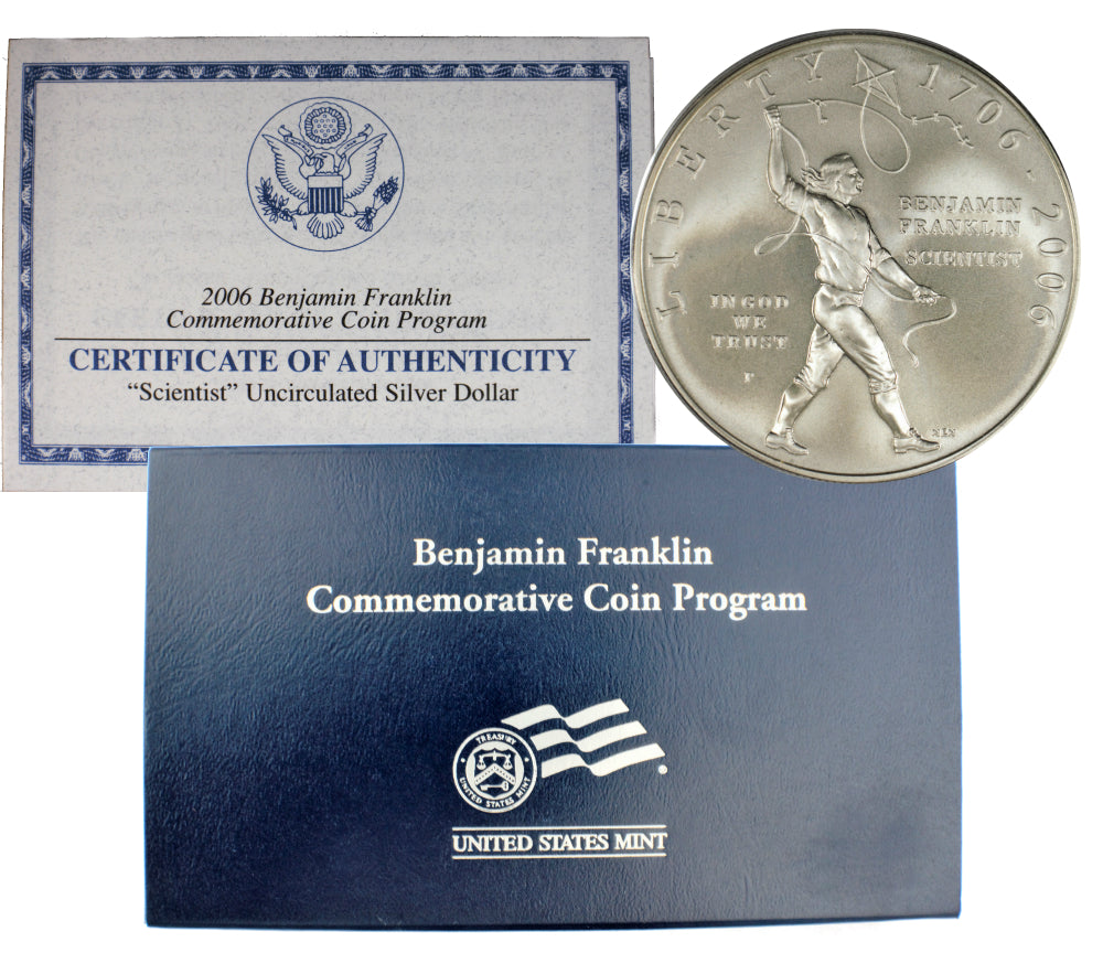 2006-P Benjamin Franklin Scientist Commemorative Silver Dollar Mint State