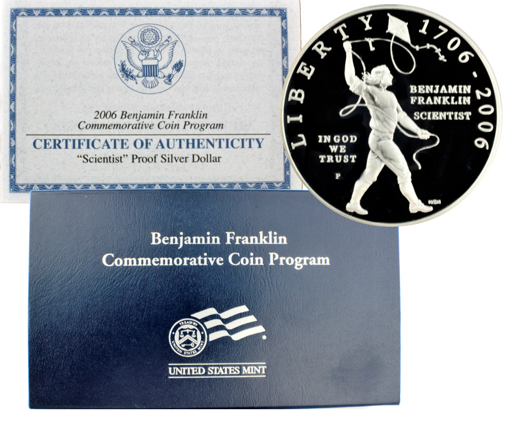 2006 Benjamin Franklin Scientist Commemorative Silver Dollar Proof