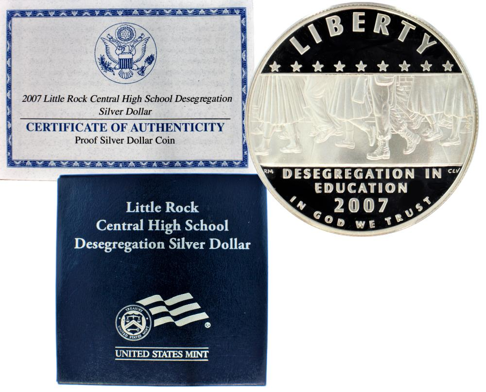 2007 Little Rock High School Desegregation Commemorative Silver Dollar Proof