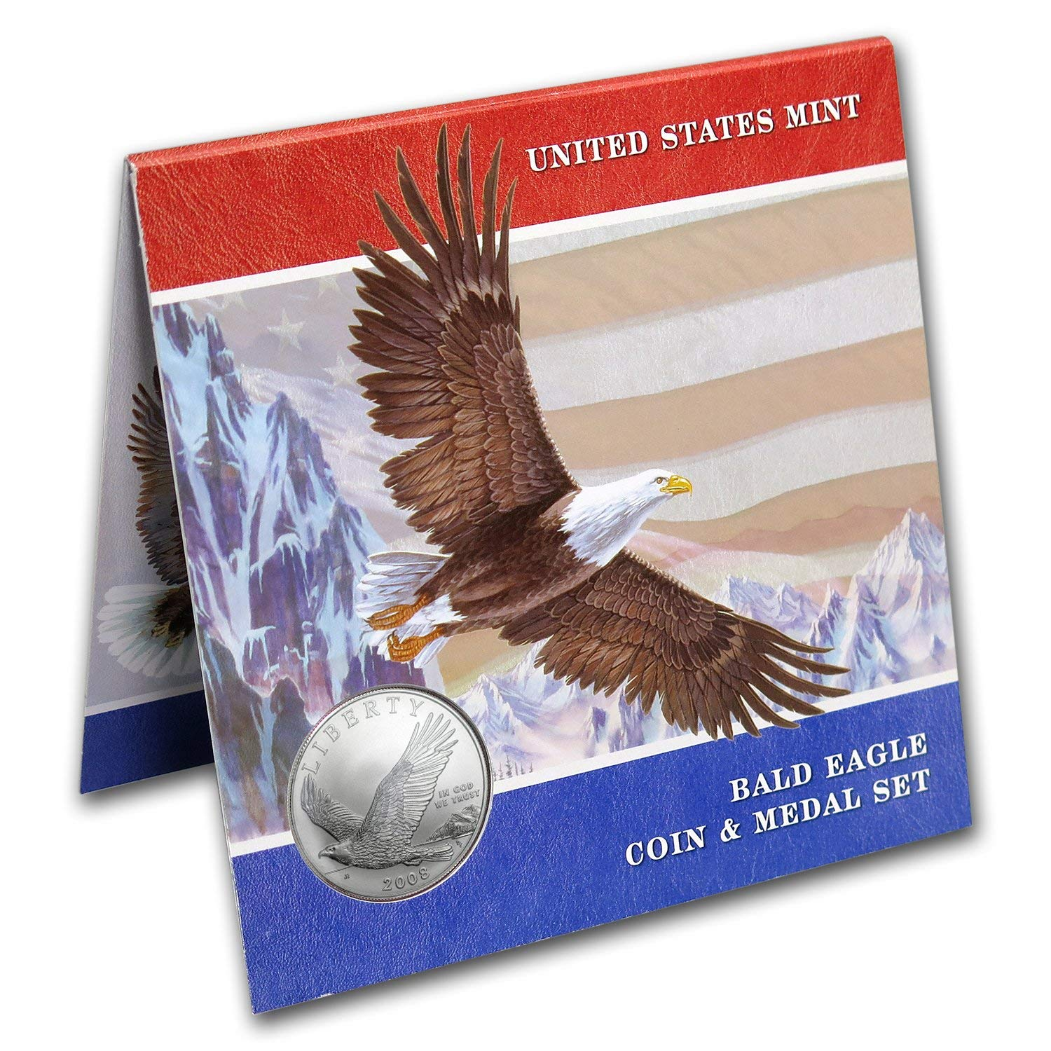 2008 Bald Eagle Coin and Medal Set Commemorative Silver Dollar Mint State