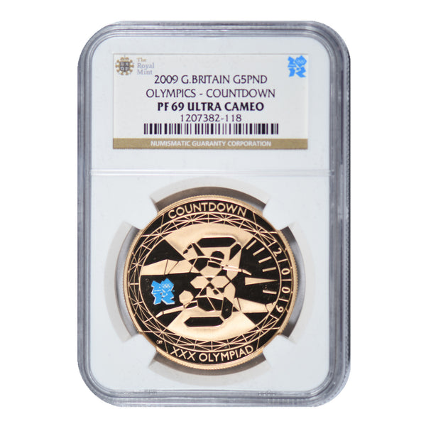 2009 Great Britain Gold 39.94 g 5 Pounds Olympics Countdown PF 69 Ultra Cameo