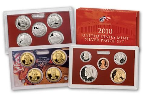 2010-S U.S. Silver Proof Set: Complete 14-Coin Set, with Box and COA