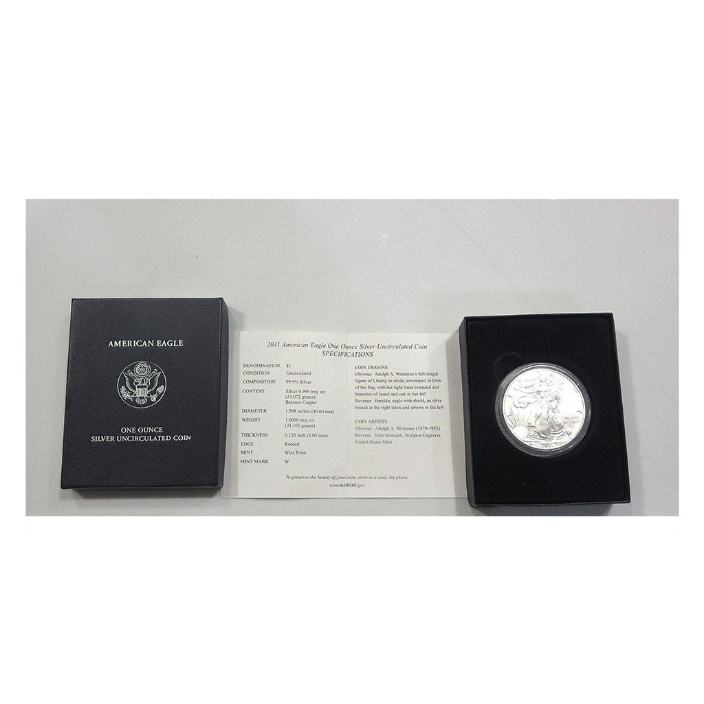 2011-W 1 oz American Silver Eagle Burnished With Box and COA