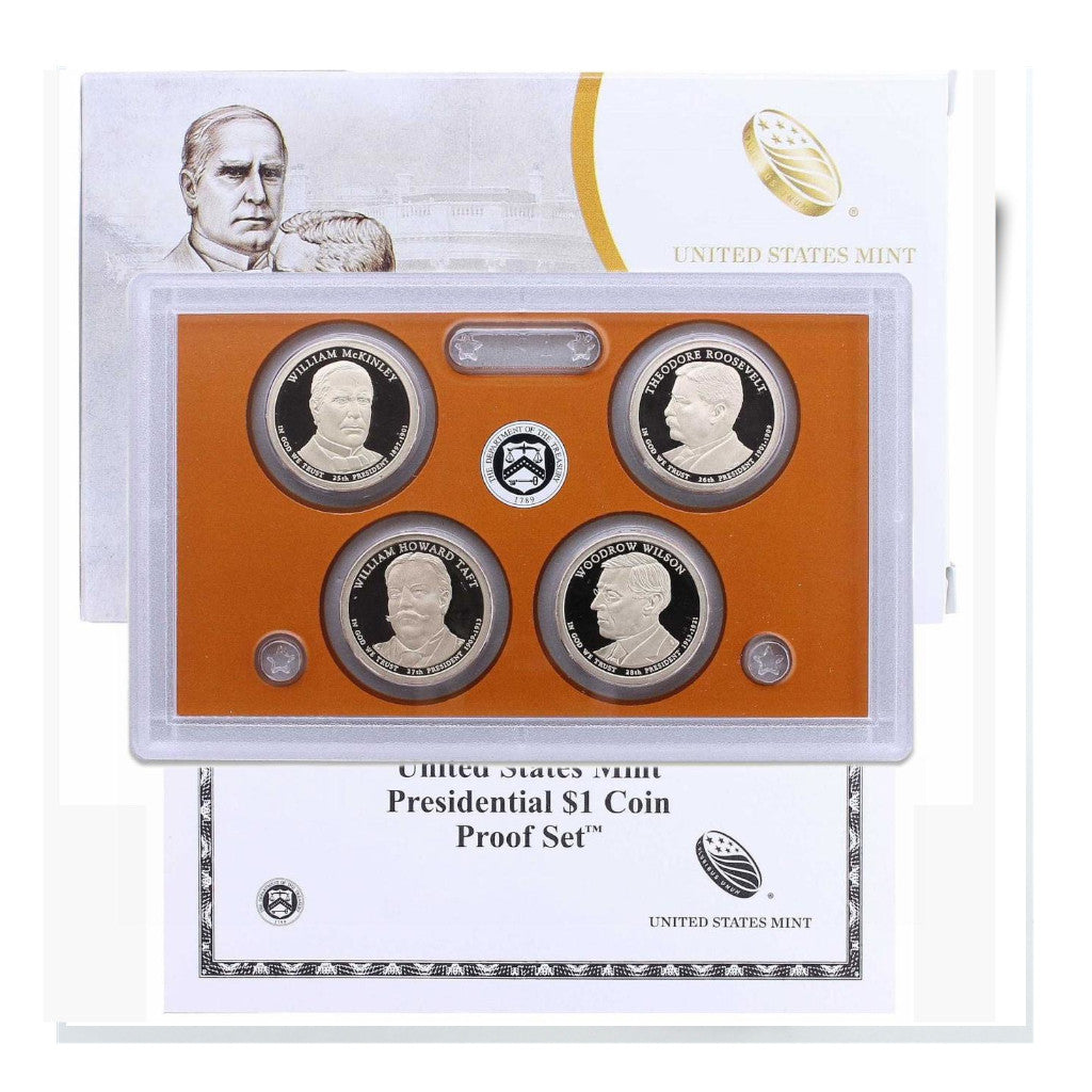 2013-S U.S. Presidential Dollars Proof Set: 4-Coin Set with Box & C.O.A.