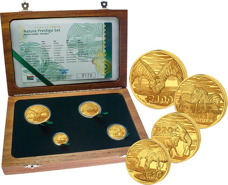 2013 South African Gold Natura Prestige 4-Coin Set, 1.85 oz AGW
