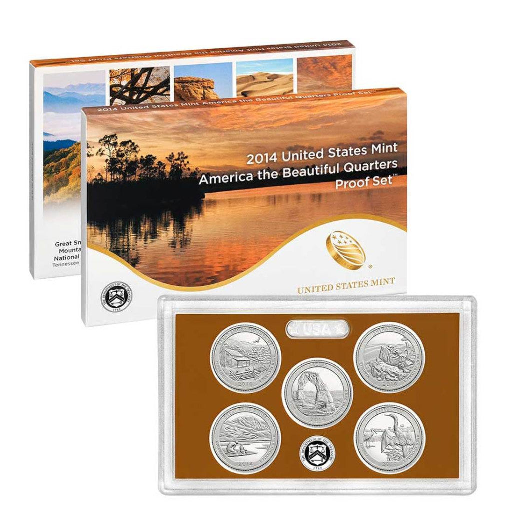 2014-S America The Beautiful Quarters Proof Set: 5-Coin Set with Box & C.O.A.