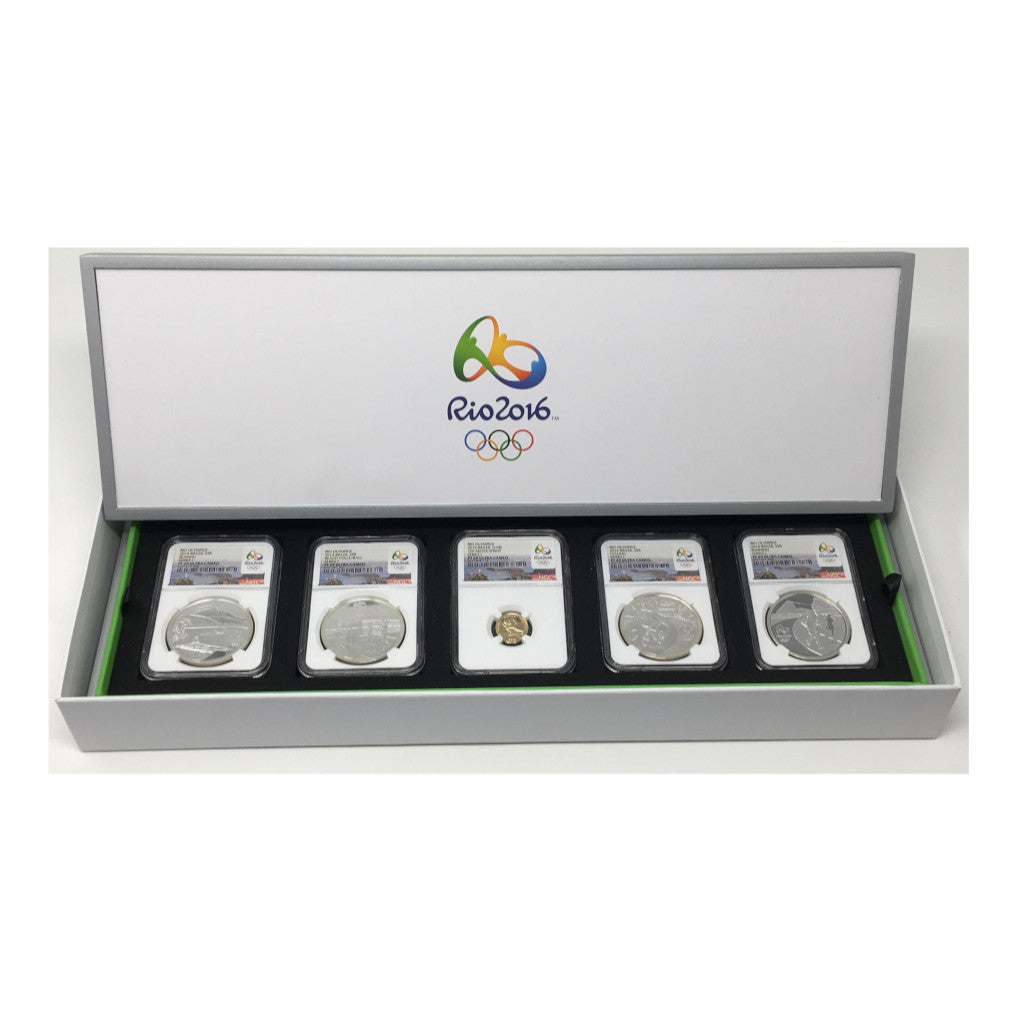 2014 Rio Brazil Olympic 5 Coin Gold and Silver Proof Coin Set NGC PF70