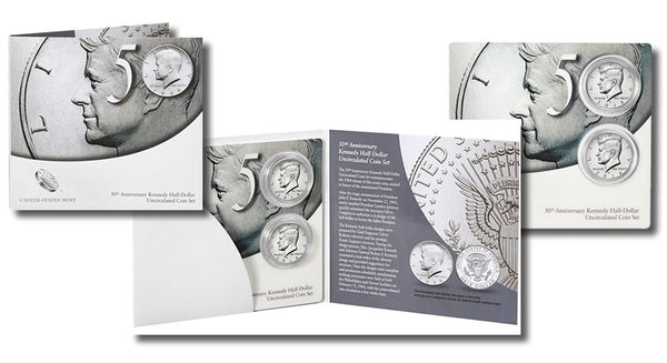 2014 50th Anniversary Kennedy Half Dollar Uncirculated 2 Coin Set