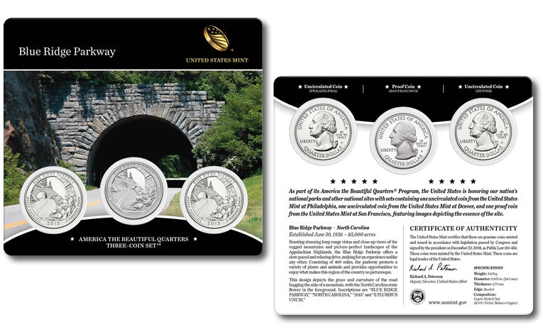 2015 Blue Ridge Parkway America The Beautiful 3-Coin Quarters Set