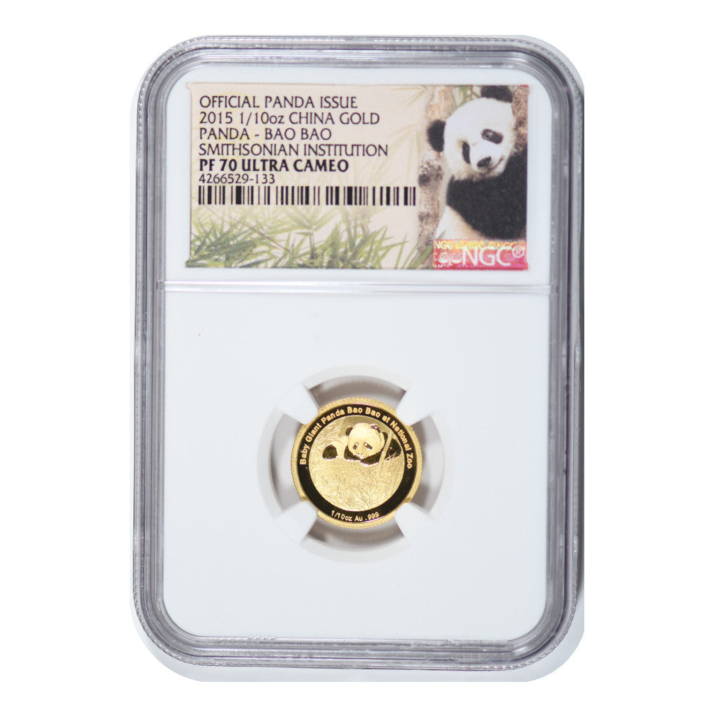 2015 1/10 oz Gold China Panda Smithsonian NGC PF70 UC