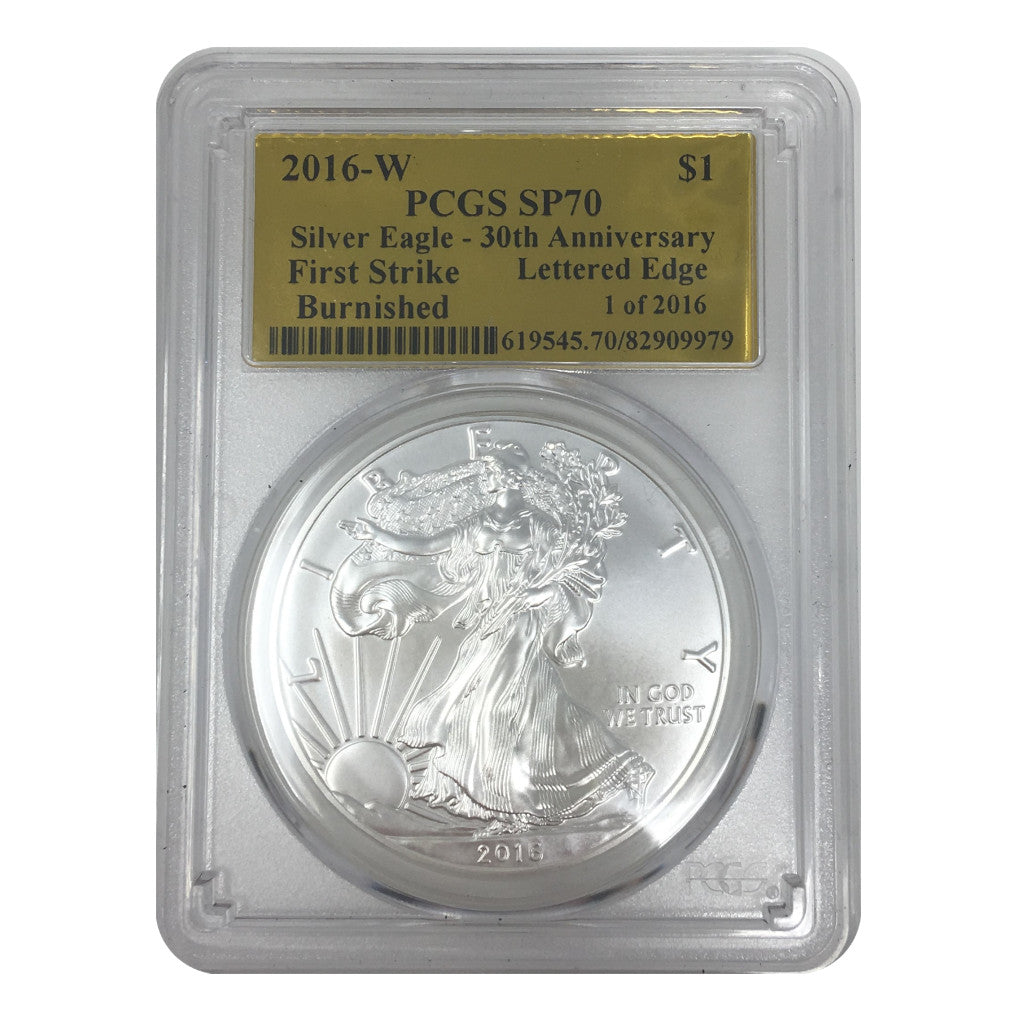 2016-W American Silver Eagle PCGS SP70 LE Burnished Gold Foil Label