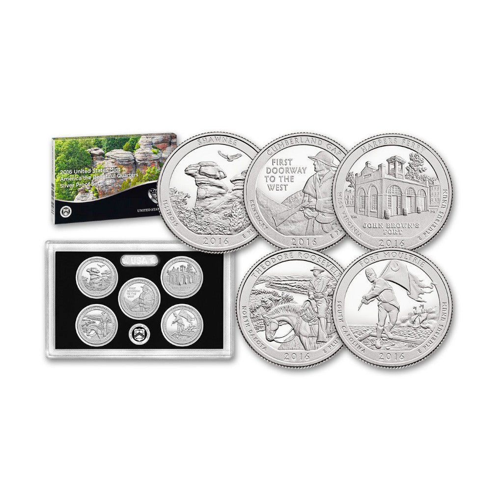 2016 U.S. Silver Proof Set, America The Beautiful Quarters