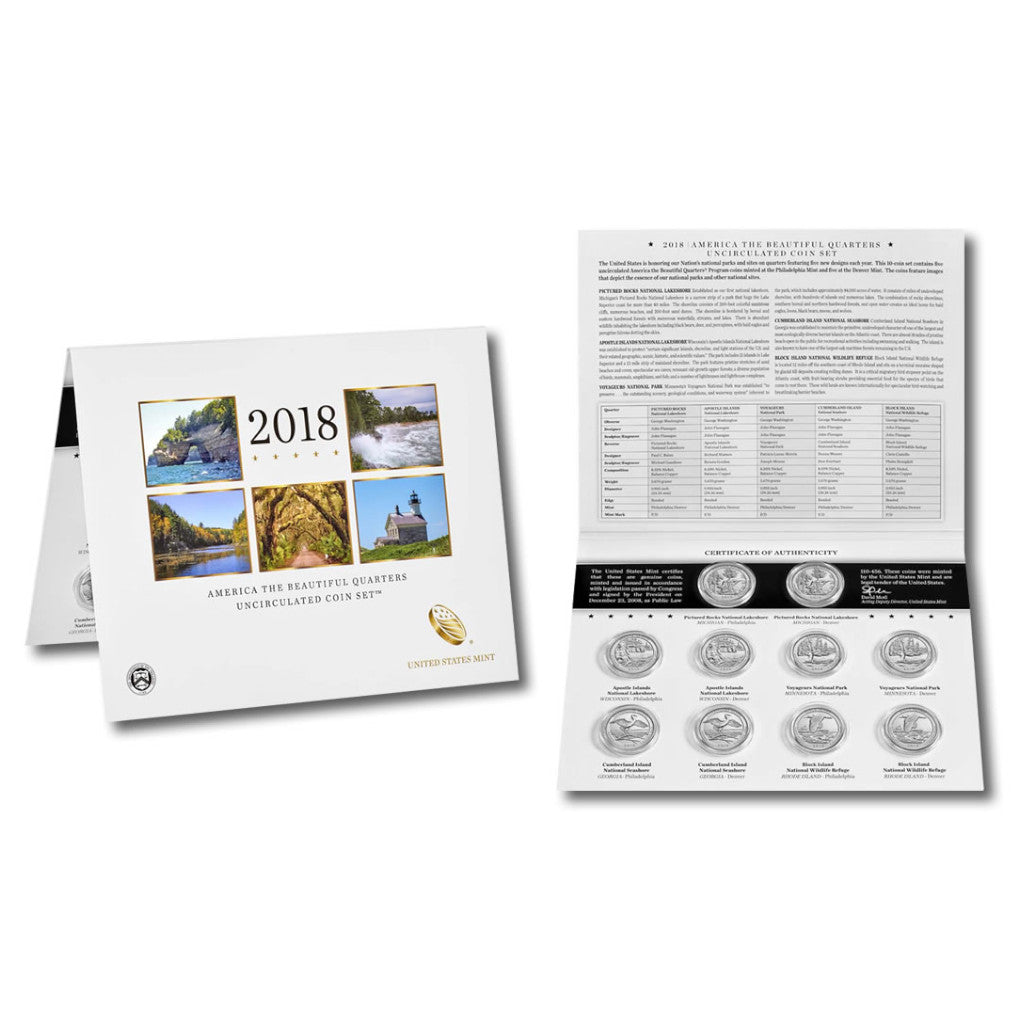 2018-P&D ATB Quarters Uncirculated Set: 10-Coin Set in Original Packaging