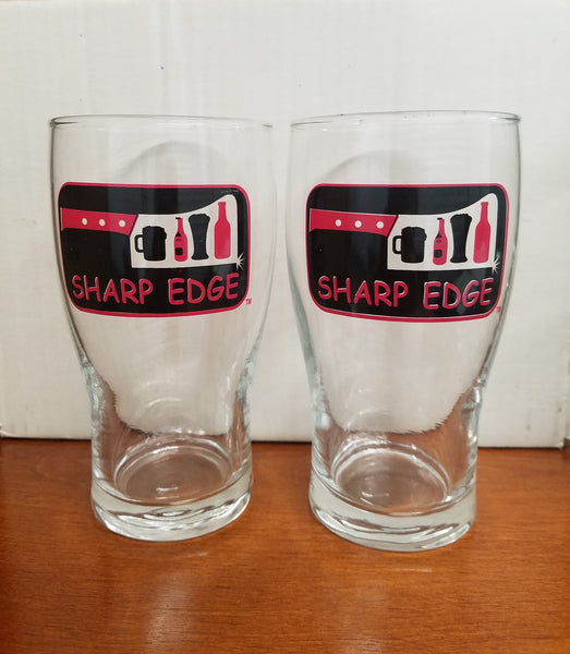 Sharp Edge Pint Beer Glasses Set of 2