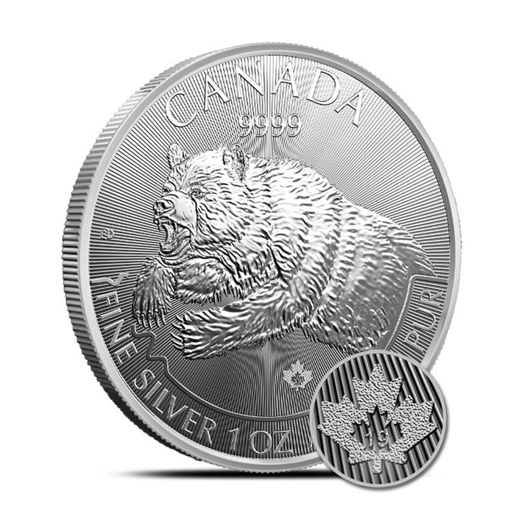 2019 1 oz Canadian Silver Predator Grizzly Mint State