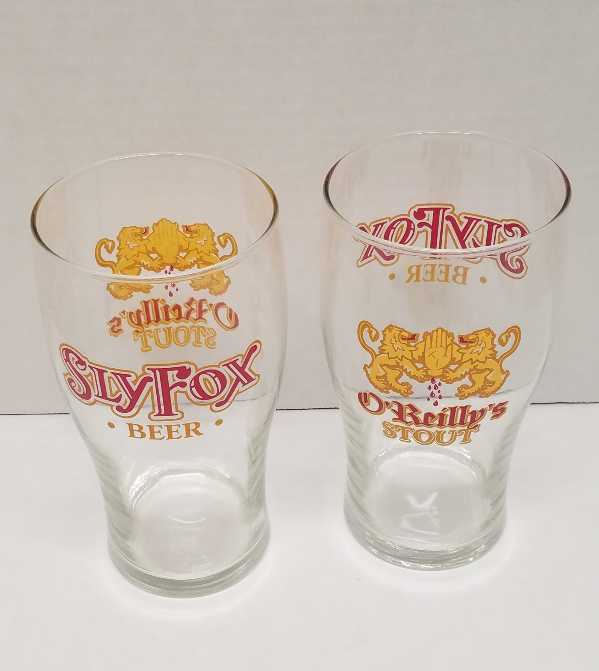 Sly Fox O'Rreilly's Stout Beer Pint Glasses Set of 2