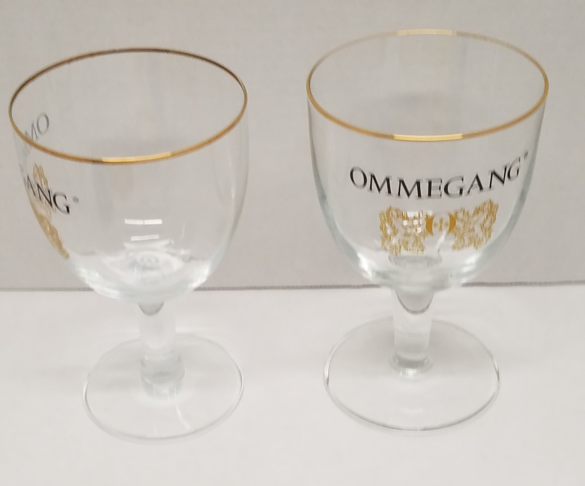 Ommegang Gold Rim Goblet Beer Glasses Set of 2