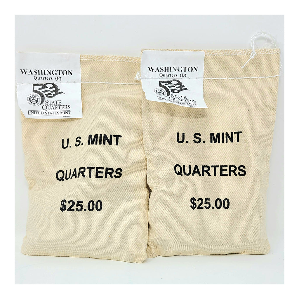 2007 U.S. Mint, Washington Quarters, $25 P+D UNC Bags