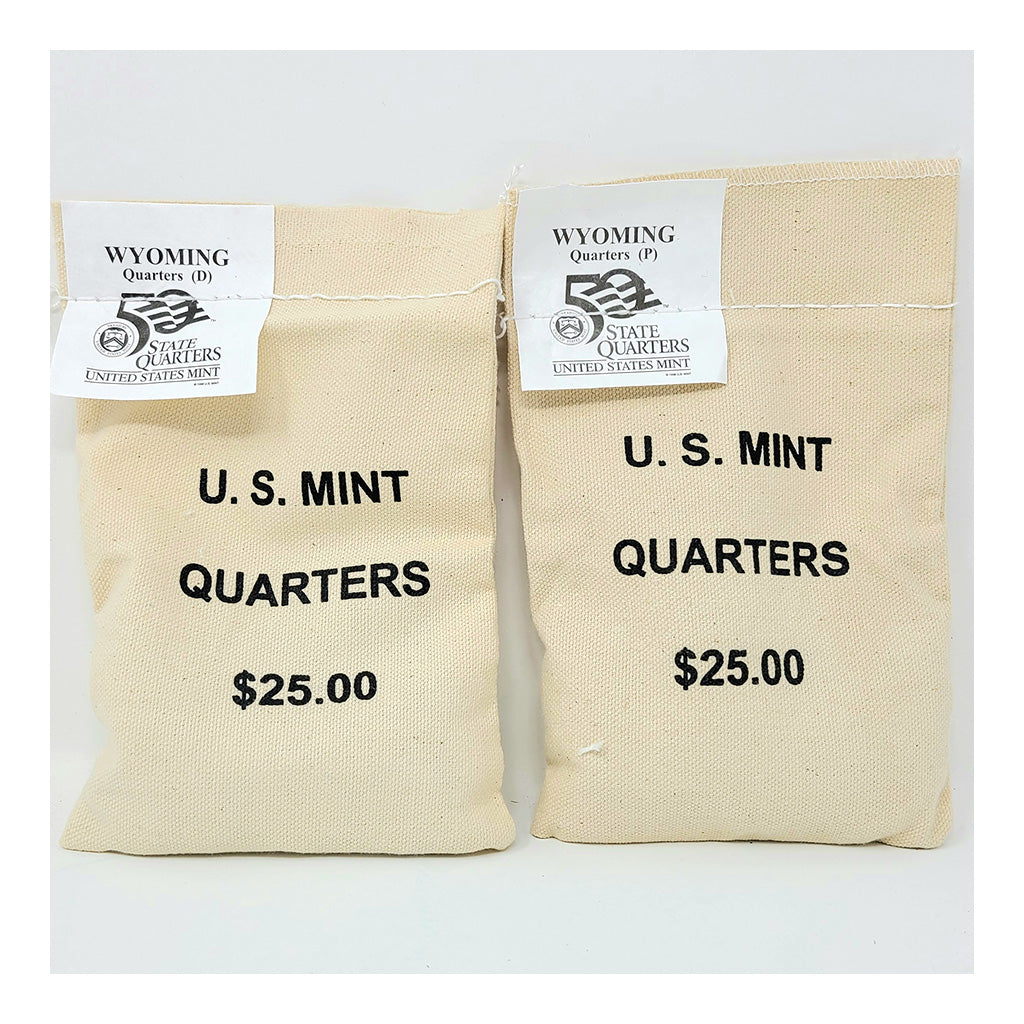 2007 U.S. Mint, Wyoming Quarters, $25 P+D UNC Bags