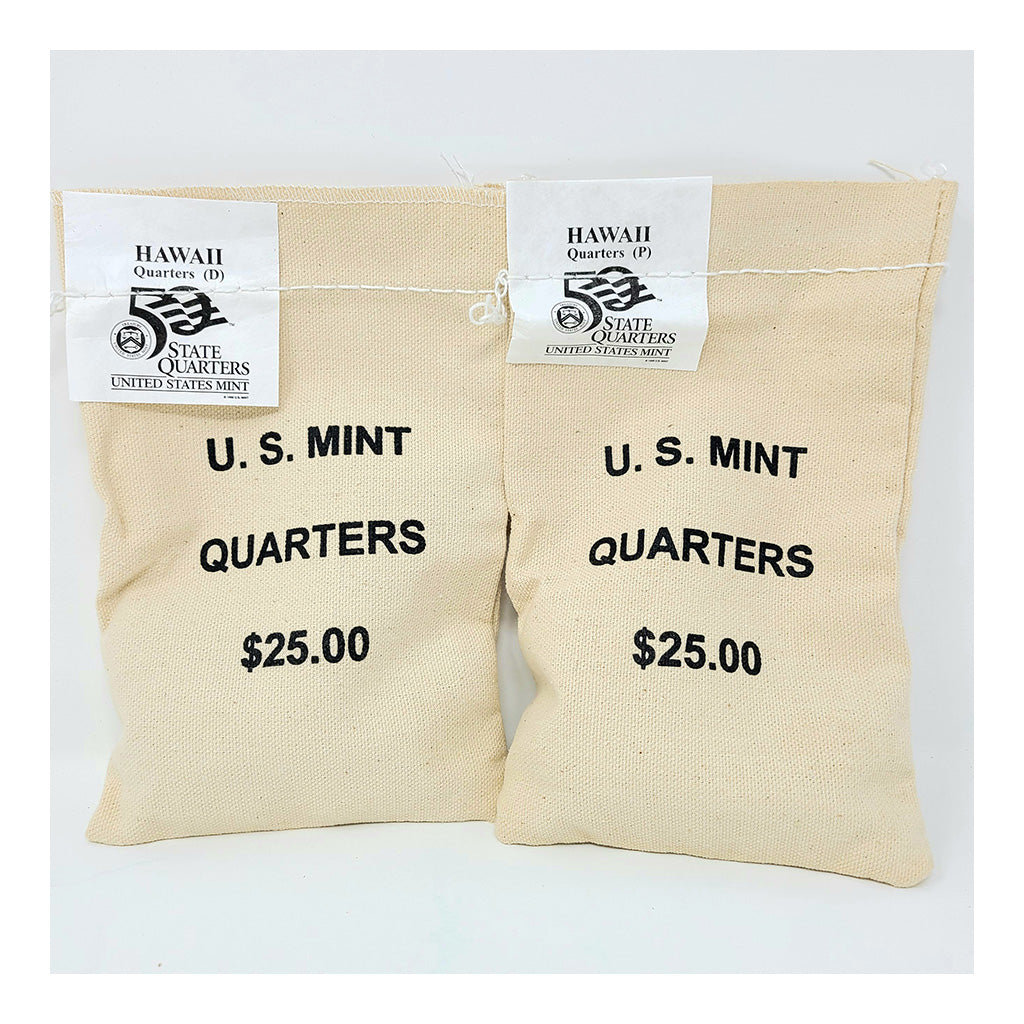 2008 U.S. Mint, Hawaii Quarters, $25 P+D UNC Bags