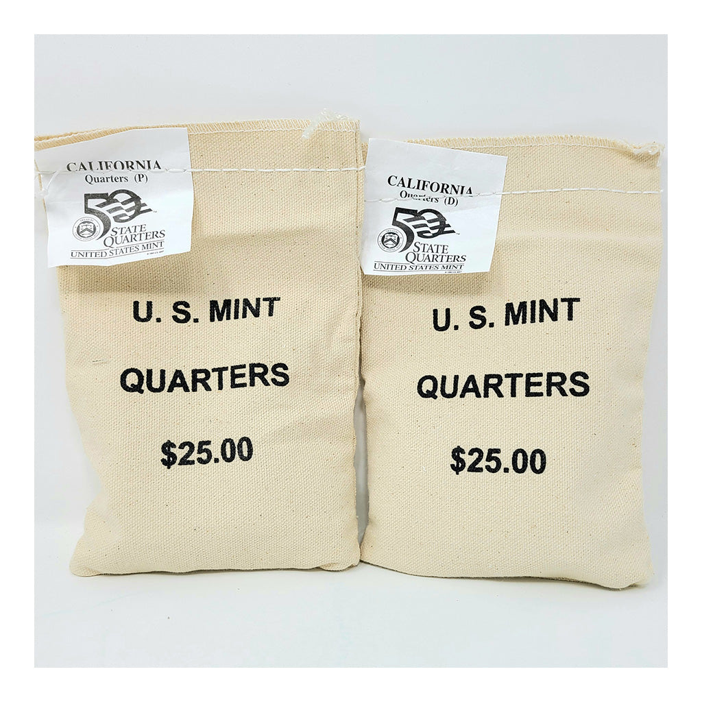 2005 U.S. Mint, California Quarters, $25 P+D UNC Bags