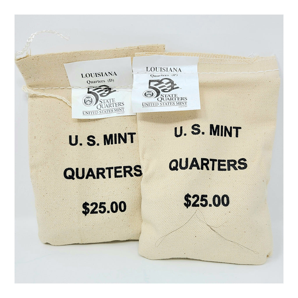 2002 U.S. Mint, Louisiana Quarters, $25 P+D UNC Bags