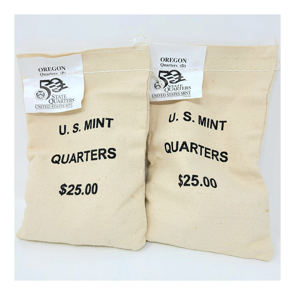 2005 U.S. Mint, Oregon Quarters, $25 P+D UNC Bags