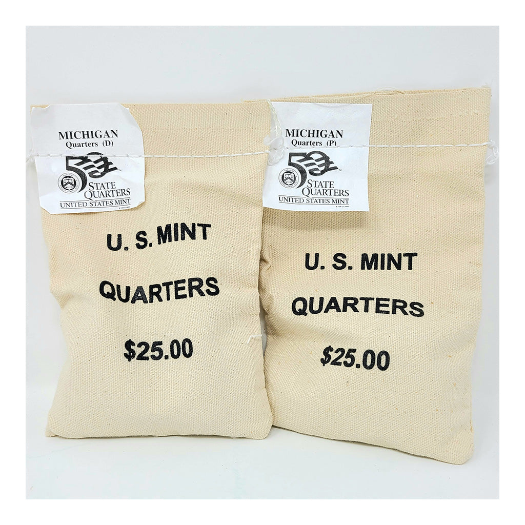2004 U.S. Mint, Michigan Quarters, $25 P+D UNC Bags