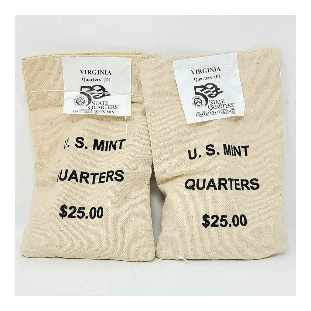 2000 U.S. Mint, Virginia Quarters, $25 P+D UNC Bags