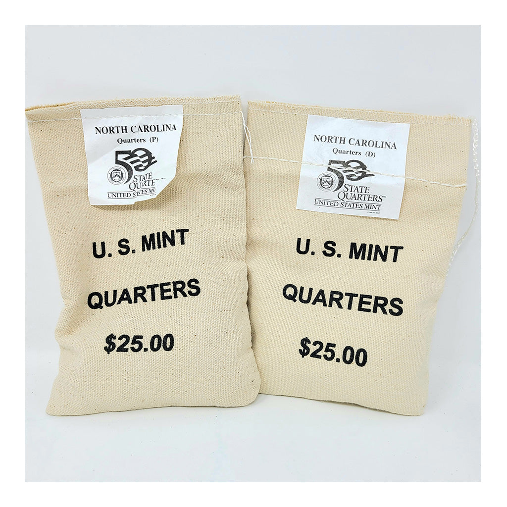 2001 U.S. Mint, North Carolina Quarters, $25 P+D UNC Bags