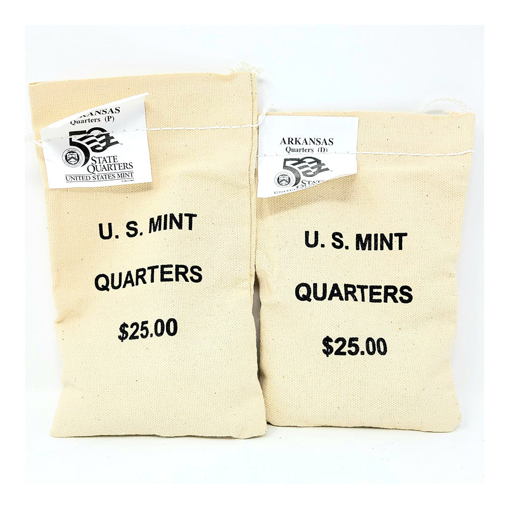 2003 U.S. Mint, Arkansas Quarters, $25 P+D UNC Bags
