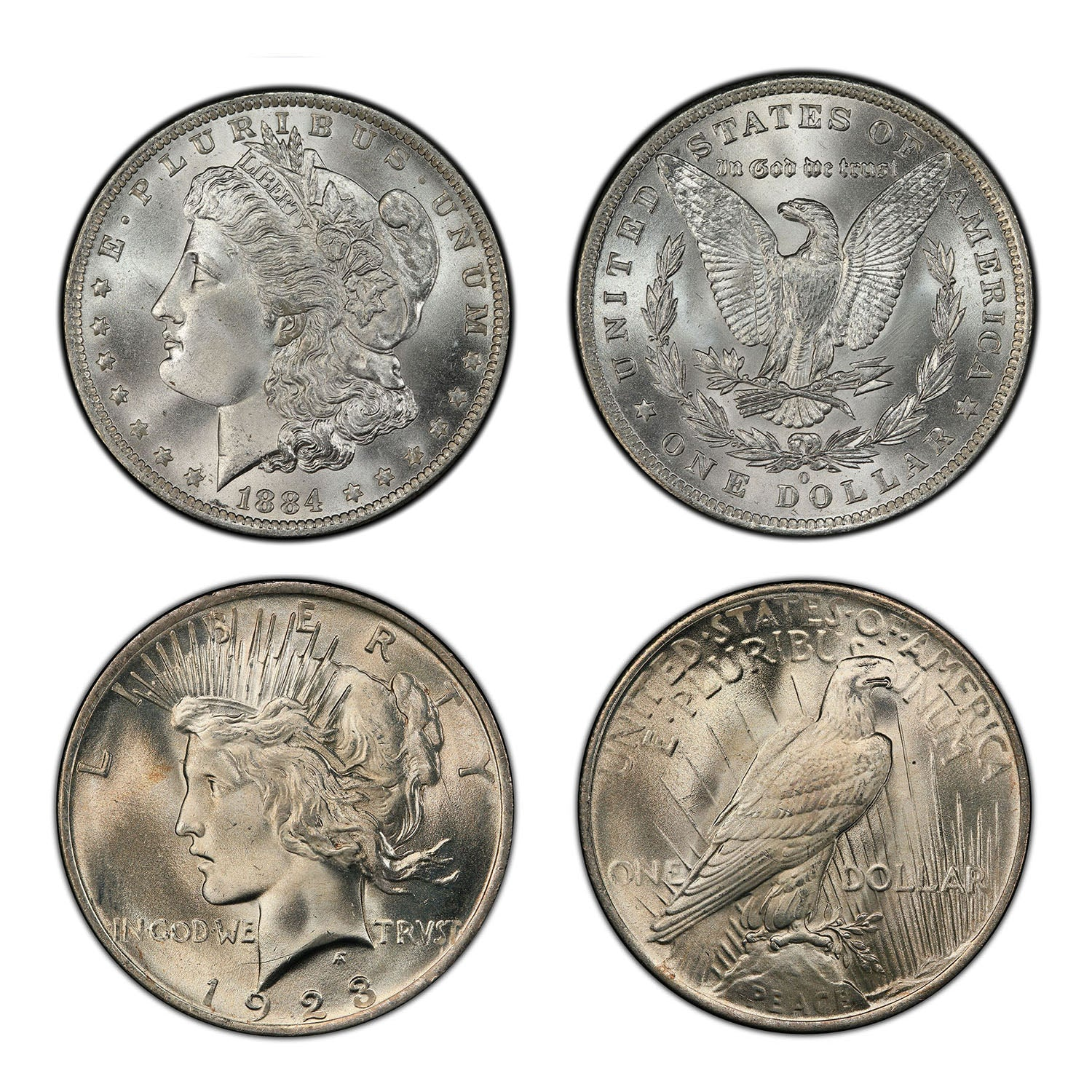 1878-1926 Morgan & Peace Silver Dollar 2-Coin Set & Wood Box