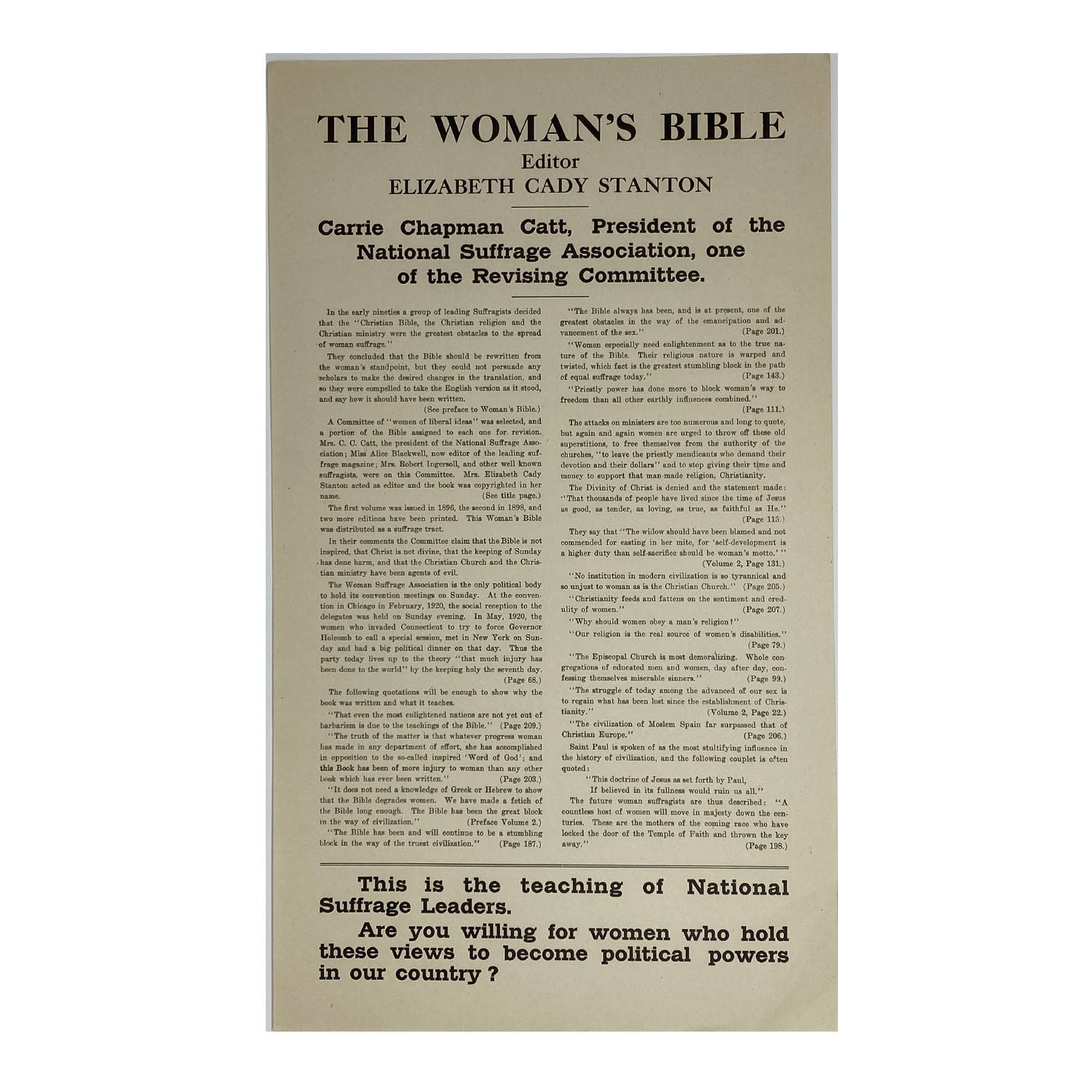 1920's Advertisement for The Woman's Bible by Elizabeth Caddy Stanton, Famous American Suffragist