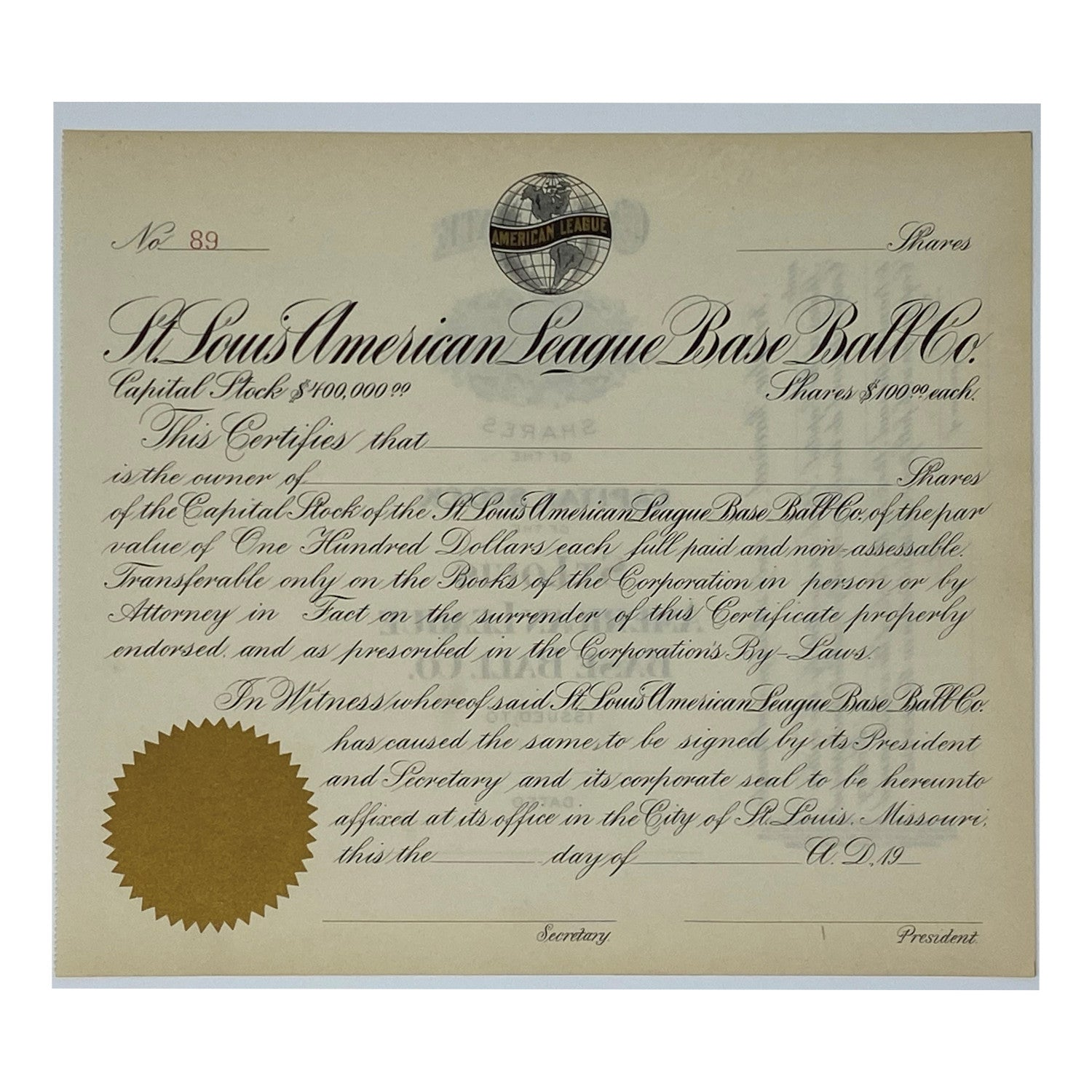 1920's St. Louis American League Base Ball Company Unissued Stock Certificate (St. Louis Browns)