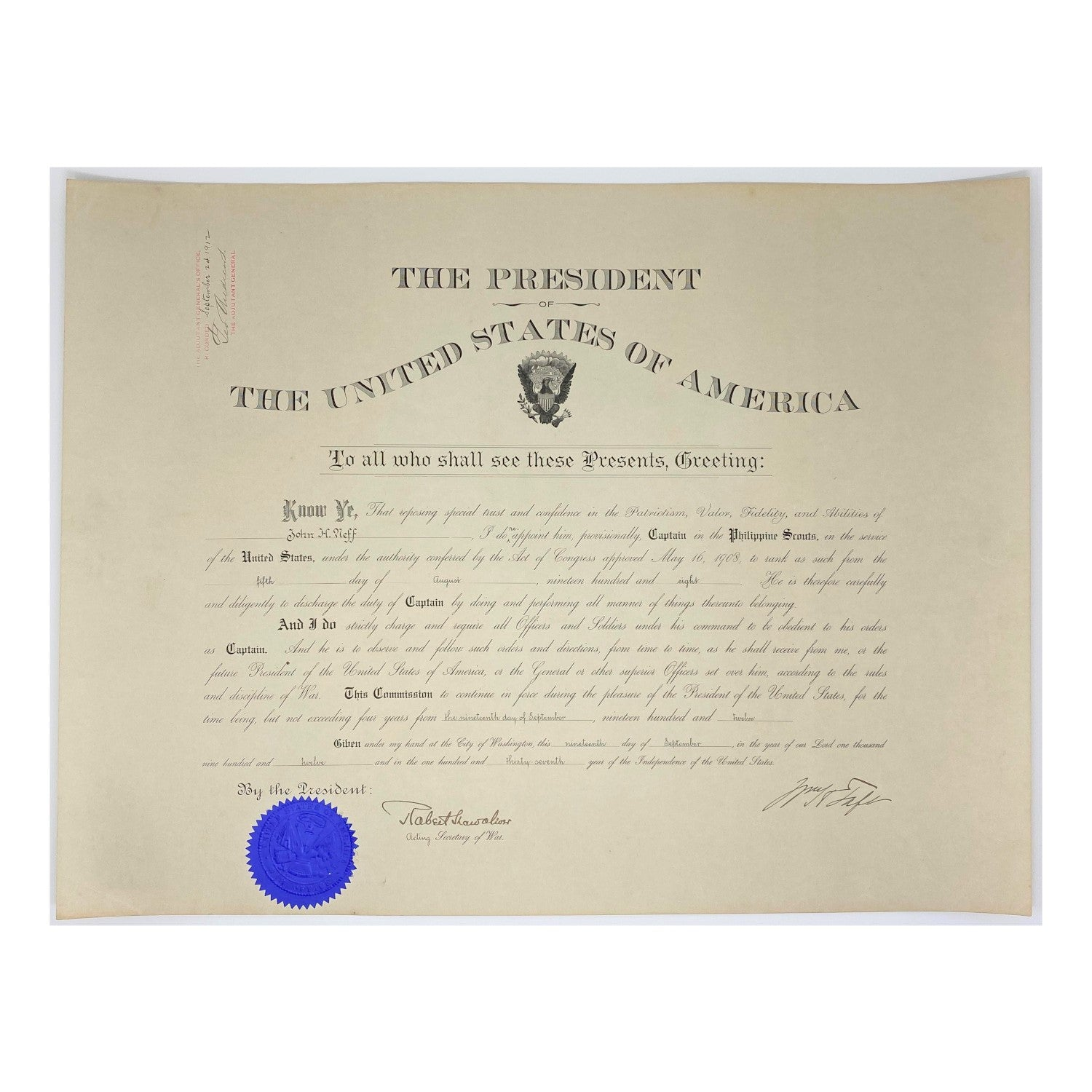 1912 William H. Taft & Robert Shaw Oliver Signed Presidential Military Appointment (Signature Certified)