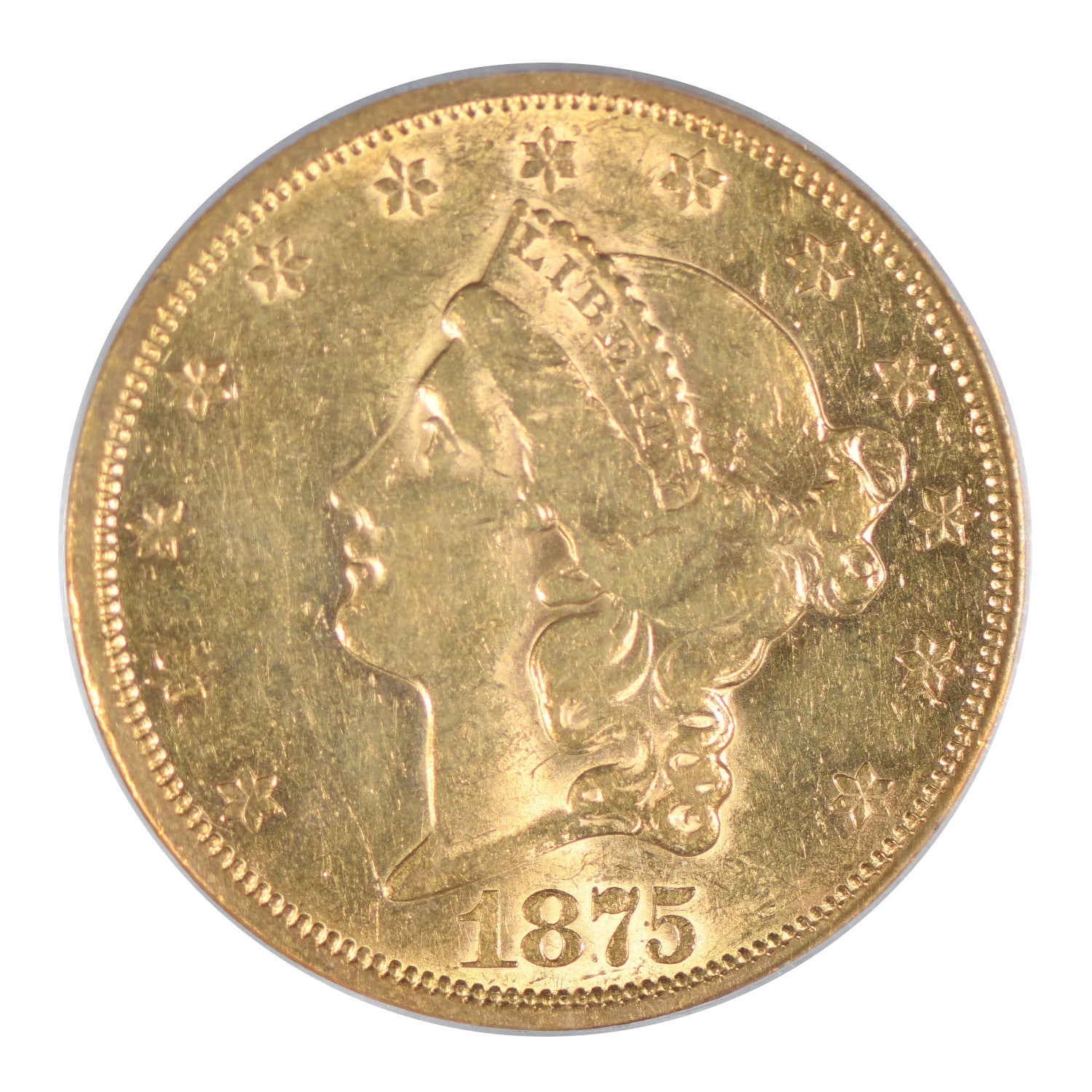 1875-S $20 Liberty Head Gold Double Eagle PCGS AU53