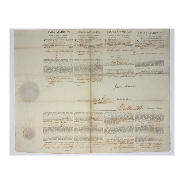 1809 James Madison Signed Shipping Passport in 4 Languages (Signature Certified)