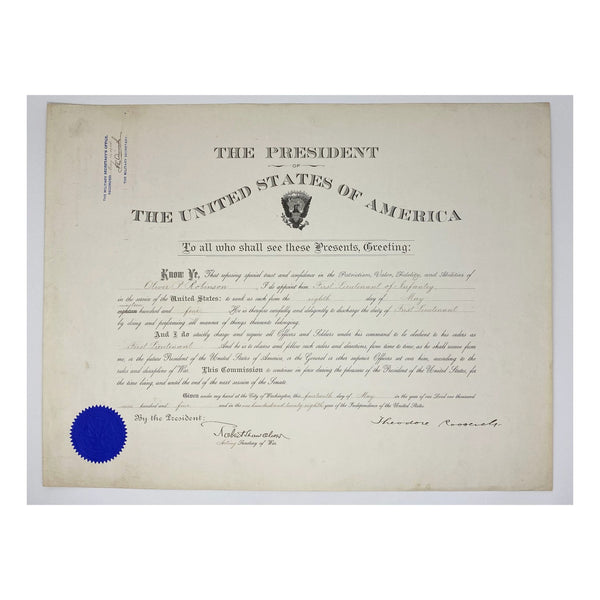 1904 Theodore Roosevelt & Robert Shaw Oliver Signed Presidential Military Appointment (Signature Certified)