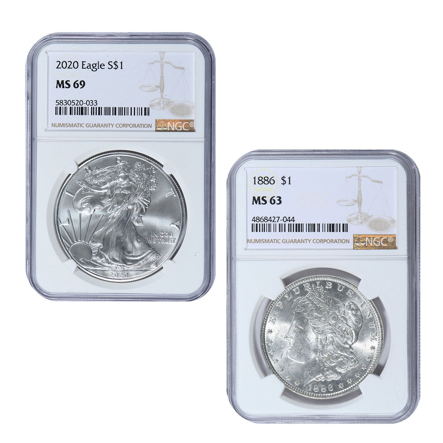 1878-1904 Morgan Silver Dollar & 2020 American Silver Eagle 2-Coin Set NGC Certified Brilliant Uncirculated & Wood Box