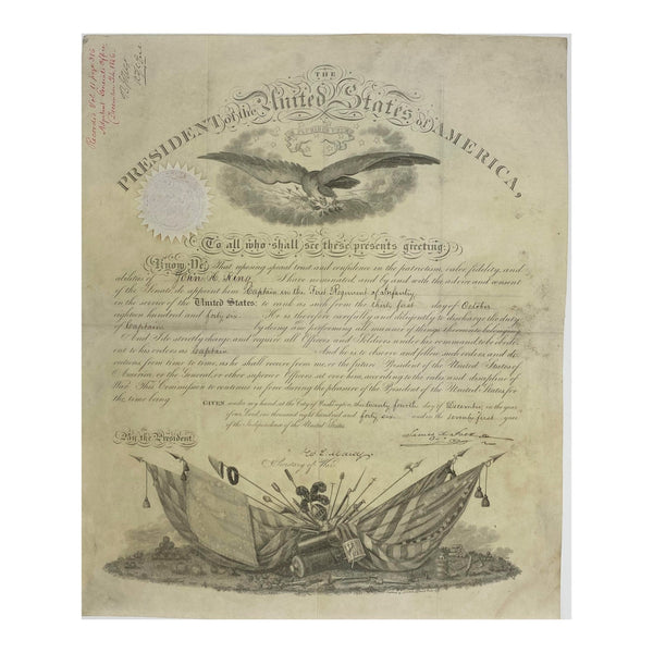 1846 James K. Polk & William L. Marcy Signed Presidential Military Appointment (Signature Certified)