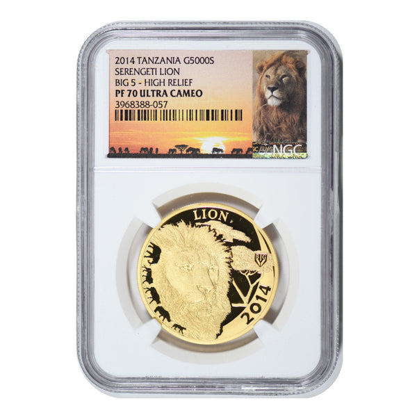 2014 Tanzania Lion Gold 1 oz 5000 Shillings NGC PF70 +Silver 1oz 1000 Shillings PF70