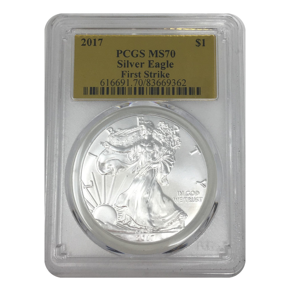 2017 American Silver Eagle PCGS MS70 FS Gold Foil Label