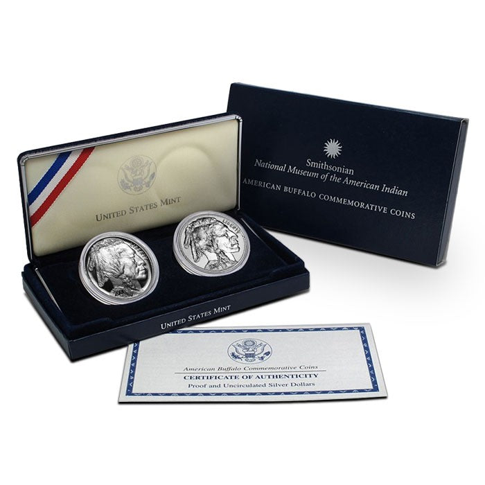 2001-D American Buffalo Commemorative Silver Dollars 2 Coin Set BU and Proof