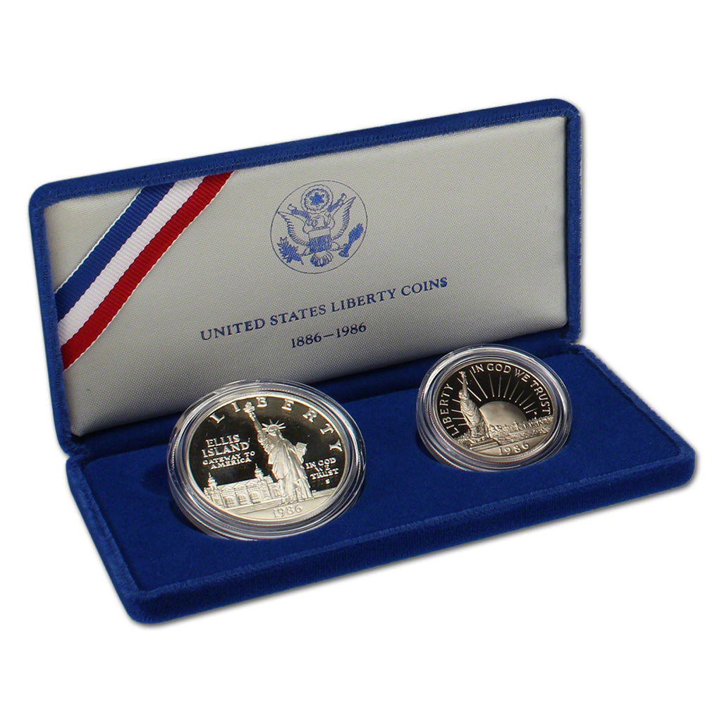 1986 Statue Of Liberty Commemorative Silver Dollar Proof 2-Coin Set
