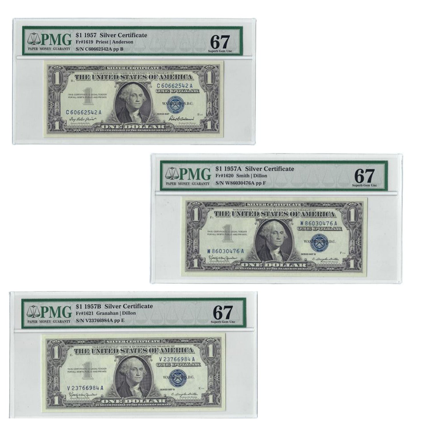 1957 A,B Series $1 Small Size Silver Certificate Three Piece Set, PMG 67 Gem