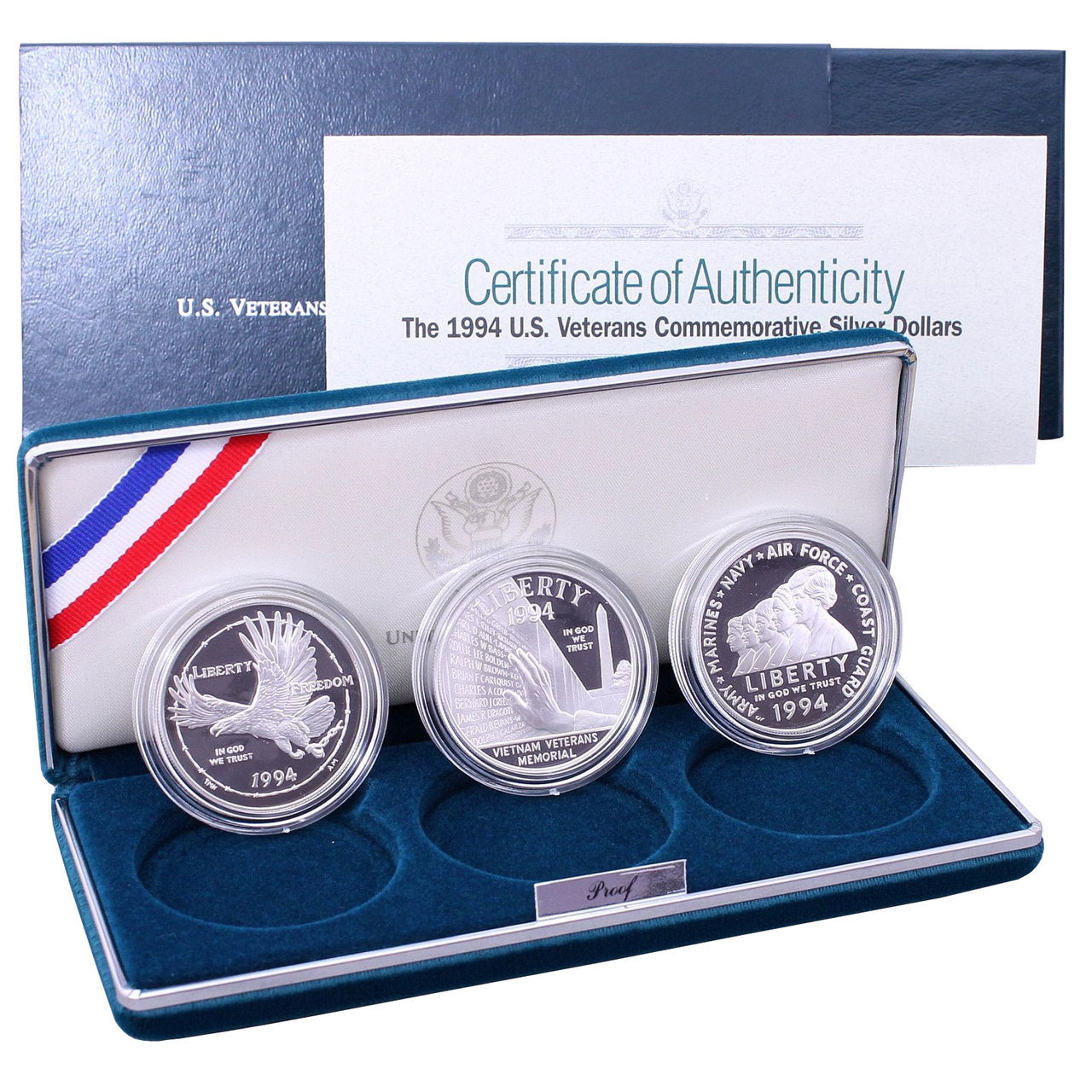 1994 U.S. Veterans Commemorative Proof Silver Dollars 3-Coin Set
