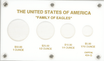 U.S. Gold Eagles (1, 1/2, 1/4, 1/10 oz.), Capital Plastics, White